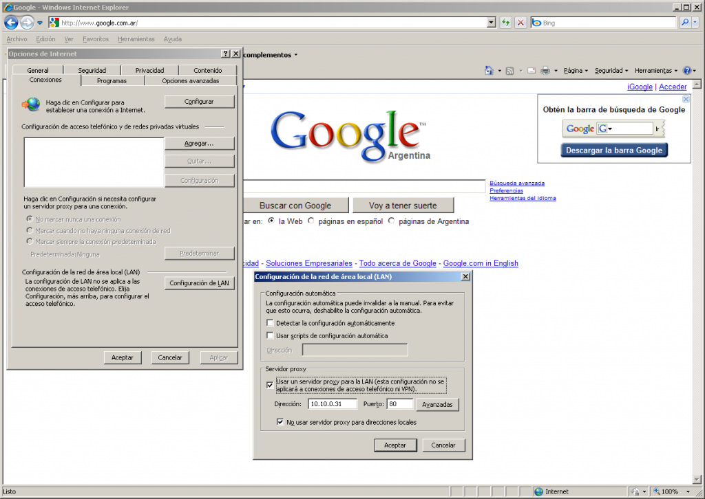 Configuranción de proxy de navegación en IE